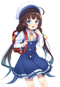 Rating: Safe Score: 0 Tags: 10s 1girl :d absurdres ahoge backpack bag bangs beret blue_dress blue_eyes blush brown_hair dress eyebrows_visible_through_hair fang finger_to_mouth fingernails hand_up hat highres hinatsuru_ai holding lebring long_hair long_sleeves looking_at_viewer low_twintails neck_ribbon open_mouth puffy_short_sleeves puffy_sleeves randoseru ribbon ryuuou_no_oshigoto! school_uniform short_over_long_sleeves short_sleeves sidelocks simple_background sleeves_past_wrists smile solo twin_tails very_long_hair white_background white_hat yellow_ribbon User: Domestic_Importer