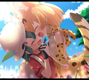 Rating: Safe Score: 1 Tags: 10s 2girls :d ^_^ animal_ears backlighting backpack bag black_gloves black_hair blonde_hair blue_sky blush bow bowtie closed_eyes cloud day el elbow_gloves extra_ears fang forehead-to-forehead frame gloves hair_between_eyes hands_together hat_feather high-waist_skirt highres interlocked_fingers kaban_(kemono_friends) kemono_friends makuran multicolored_neckwear multicoloured multicoloured_clothes multicoloured_gloves multiple_girls open_mouth outdoors print_gloves print_neckwear print_skirt red_shirt sandstar serval_(kemono_friends) serval_ears serval_print serval_tail shirt short_sleeves skirt sky sleeveless sleeveless_shirt smile sunlight t-shirt tail tree white_gloves white_neckwear yellow_gloves yellow_neckwear yuri User: Domestic_Importer