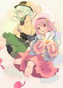 Rating: Safe Score: 0 Tags: 2girls green_eyes green_hair hat heart heart_hands highres komeiji_koishi komeiji_satori multiple_girls pink_hair purple_eyes short_hair siblings sisters touhou_project yuu_(kfc) User: DMSchmidt