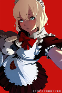Rating: Safe Score: 0 Tags: 1girl apron blonde_hair blue_eyes girls_und_panzer hammer_and_sickle headdress highres katyusha lips looking_at_viewer maid maid_apron maid_headdress otto pleated_skirt red_background ribbon self_shot short_hair simple_background skirt solo stuffed_animal stuffed_toy teddy_bear watermark web_address User: DMSchmidt