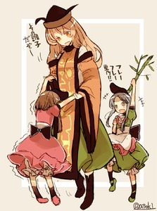 Rating: Safe Score: 0 Tags: 3girls atoki bamboo blonde_hair brown_hair dancing dress grey_eyes grey_hair hat height_difference highres holding_hands long_hair matara_okina multiple_girls nishida_satono open_mouth signature smile tabard tate_eboshi teireida_mai touhou_project translation_request wide_sleeves yellow_eyes younger User: Domestic_Importer