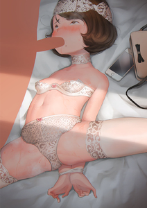 Rating: Explicit Score: 3 Tags: 1boy 1girl arms_behind_back bag blush bound bound_wrists bow bow_bra bow_panties breasts brown_eyes brown_hair choker fellatio hideousbeing highres iphone looking_at_viewer lying midriff mole mole_under_mouth navel on_back oral original pantsu penis short_hair small_breasts solo_focus spread_legs sweat thighhighs underwear white_bra white_legwear white_pantsu User: Domestic_Importer