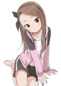 Rating: Safe Score: 2 Tags: 1girl absurdres barefoot black_bow black_shorts blush bow brown_eyes brown_hair closed_mouth collarbone forehead hair_bow hairband highres idolmaster idolmaster_(classic) jacket long_hair looking_at_viewer minase_iori on_floor pink_jacket shirt shorts solo white_background white_shirt yamamoto_souichirou User: DMSchmidt
