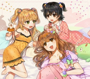 Rating: Safe Score: 0 Tags: 3girls :3 :d adjusting_another's_clothes adjusting_bow age_difference akagi_miria barefoot black_hair blonde_hair blush bow breasts brown_eyes brown_hair cleavage cowtits decoration_(idolmaster) dress fangs gijang group_name hair_bobbles hair_ornament hairclip heart heart_hair_ornament idolmaster idolmaster_cinderella_girls index_finger_raised jougasaki_rika large_breasts lying moroboshi_kirari multiple_girls nightgown on_side open_mouth orange_dress orange_scrunchie pajamas pina_korata pink_dress puffy_short_sleeves puffy_sleeves scrunchie short_sleeves small_breasts smile star star_hair_ornament stuffed_animal stuffed_bunny stuffed_toy wrist_scrunchie User: Domestic_Importer