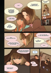 Rating: Questionable Score: 6 Tags: 1boy 2girls age_difference bangs bed bed_sheet bedroom blue_eyes blunt_bangs brown_eyes comic english father_and_daughter highres hug little_girl_7 long_hair lying lying_on_another mother mother_and_daughter multiple_girls naughty_face on_back pencil pillow rustle scan sleeping surprised text translated User: Software