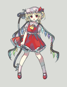 Rating: Safe Score: 0 Tags: 1girl :d blonde_hair collared_shirt flandre_scarlet full_body grey_background holding legs_apart looking_at_viewer one_side_up open_mouth puffy_short_sleeves puffy_sleeves red_eyes red_footwear red_skirt red_vest sasa_kichi shirt shoes short_hair short_sleeves simple_background skirt smile socks solo standing touhou_project vest white_legwear wings User: DMSchmidt