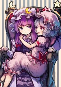 Rating: Safe Score: 1 Tags: 2girls absurdres bat_wings blue_hair bow capelet crescent dress fang hair_bow hair_ornament hat hat_ribbon highres long_hair long_sleeves looking_at_another mob_cap multiple_girls open_mouth patchouli_knowledge profile puffy_sleeves purple_eyes purple_hair pyonsuke red_eyes remilia_scarlet ribbon sash shirt short_hair short_sleeves sitting sitting_on_person skirt skirt_set smile star striped striped_background throne touhou_project vest wings User: DMSchmidt
