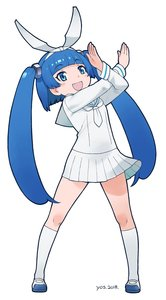 Rating: Safe Score: 0 Tags: 1girl 2018 absurdres bangs blue_eyes blue_hair blunt_bangs crossed_arms full_body hair_ribbon hairband highres long_hair looking_at_viewer mascot multiple_girls neckerchief nipa-ko nut_hair_ornament open_mouth ribbon school_uniform serafuku shoes skirt smile twin_tails ultimate_nipper uwabaki very_long_hair white_serafuku yoshizaki_mine User: DMSchmidt