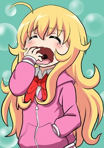 Rating: Safe Score: 0 Tags: 1girl ahoge blonde_hair closed_eyes gabriel_dropout hand_in_pocket highres hood hoodie knives_(knives777) long_hair ribbon school_uniform tearing_up tenma_gabriel_white yawning User: Domestic_Importer