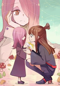 Rating: Safe Score: 1 Tags: 3girls black_legwear black_shoes brown_hair chin_rest closed_mouth dual_persona eye_contact flower frown hair_over_one_eye holding holding_flower holding_hands kagari_atsuko little_witch_academia long_hair looking_at_another multiple_girls mushroom pink_hair red_eyes school_uniform shoes smile sou_(tuhut) sucy_manbavaran tied_hair wide_sleeves younger User: Domestic_Importer