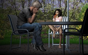 Rating: Explicit Score: 2 Tags: 1boy 1girl 3dcg age_difference barefoot black_hair chair feet hair_bobbles hair_ornament jeans_skirt looking_at_partner nopan outdoors photorealistic pussy sexually_suggestive table tree twin_tails uncensored viper viper_3d_lolicon_pack User: Software