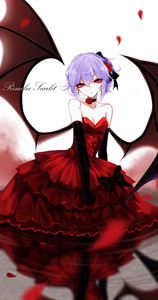 Rating: Safe Score: 1 Tags: 1girl absurdres alternate_costume bare_shoulders bat_wings black_bow black_gloves black_ribbon bow character_name cleavage collar collarbone cross cross_earrings dress earrings elbow_gloves gloves hair_ribbon highres jewellery lavender_hair looking_at_viewer petals red_dress red_eyes red_ribbon reflection remilia_scarlet ribbon rose_petals sheya solo touhou_project white_background wings User: DMSchmidt