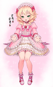 Rating: Safe Score: 0 Tags: 10s 1girl bangs bare_legs blonde_hair bow bowtie choker dress flower frilled_dress frilled_sleeves frills full_body green_eyes hairband heart idolmaster idolmaster_cinderella_girls lolita_hairband long_sleeves looking_at_viewer matanonki open_mouth outstretched_arm pink_background pink_bow pink_bowtie pink_dress pink_shoes puffy_long_sleeves puffy_sleeves reaching_out red_rose rose sakurai_momoka shoes short_hair simple_background sitting smile solo two-tone_background wavy_hair white_background User: DMSchmidt