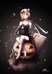 Rating: Safe Score: 0 Tags: 1girl anizi artist_name bandaged_head bandages bare_shoulders black_background black_dress blonde_hair bow closed_mouth cross crossed_legs detached_sleeves dress eyeball_hair_ornament faux_figurine fence food_themed_hair_ornament hair_ornament hair_over_one_eye halloween hands_in_sleeves highres holding idolmaster idolmaster_cinderella_girls jack-o'-lantern leg_garter light_particles looking_at_viewer nail_polish neck_ribbon pumpkin pumpkin_hair_ornament red_eyes ribbon shirasaka_koume short_hair signature single_thighhigh sitting skull smile solo spaghetti_strap spider_web_print thighhighs toenail_polish toenails tombstone torn_clothes white_bow white_neckwear white_ribbon User: DMSchmidt