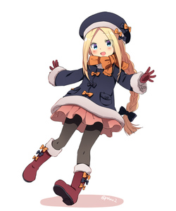 Rating: Safe Score: 2 Tags: 1girl :d abigail_williams_(fate/grand_order) alternate_hairstyle bangs beret black_bow black_hat black_jacket black_legwear blonde_hair blue_eyes blush boots bow braid colored_shadow eyebrows_visible_through_hair fate/grand_order fate_(series) forehead full_body fur-trimmed_boots fur-trimmed_sleeves fur_trim gloves hair_bow hat hat_bow jacket knee_boots long_hair long_sleeves looking_at_viewer marimo_danshaku open_mouth orange_bow pantyhose parted_bangs pink_skirt red_footwear red_gloves shadow sidelocks single_braid skirt smile solo twitter_username very_long_hair white_background User: DMSchmidt