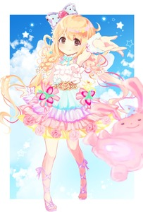 Rating: Safe Score: 0 Tags: 1girl bangs blonde_hair blue_ribbon blue_sky bow brown_eyes closed_mouth cloud cross-laced_footwear dress flower food fruit futaba_anzu hair_between_eyes hair_bow highres idolmaster idolmaster_cinderella_girls idolmaster_cinderella_girls_starlight_stage legs_apart long_hair looking_at_viewer low_twintails mugi_(user_khzh5853) multicoloured multicoloured_clothes multicoloured_dress outstretched_arm pink_flower pink_rose polka_dot polka_dot_bow purple_footwear ribbon rose sandals sky smile solo standing star strawberry stuffed_animal stuffed_bunny stuffed_toy twin_tails very_long_hair User: Domestic_Importer