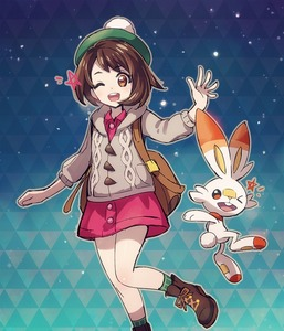 Rating: Safe Score: 2 Tags: 1girl :d backpack bag bangs boots brown_eyes brown_footwear brown_hair eyebrows_visible_through_hair feet_out_of_frame female_protagonist_(pokemon_swsh) gen_8_pokemon gradient gradient_background green_hat green_legwear hand_up hat hood hooded_sweater long_sleeves looking_at_viewer miniskirt nyjee one_eye_closed open_mouth pink_skirt pokemon pokemon_(creature) pokemon_(game) pokemon_swsh scorbunny shoes short_hair skirt smile sweater tam_o'_shanter User: Domestic_Importer