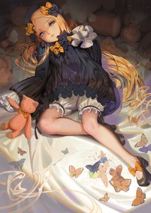 Rating: Safe Score: 0 Tags: 1girl abigail_williams_(fate/grand_order) alphonse animal bangs bed_sheet black_bow black_dress black_footwear black_hat blonde_hair bloomers blue_eyes bow butterfly dress fate/grand_order fate_(series) forehead hair_bow hands_in_sleeves hat high_heels long_hair long_sleeves looking_at_viewer lying on_back orange_bow parted_bangs parted_lips polka_dot polka_dot_bow shoes solo stuffed_animal stuffed_toy teddy_bear underwear very_long_hair white_bloomers User: Domestic_Importer