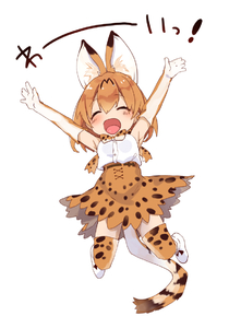 Rating: Safe Score: 0 Tags: 1girl :d animal_ears armpits arms_up bare_shoulders blonde_hair blush bow bowtie breasts closed_eyes elbow_gloves eyebrows_visible_through_hair full_body gloves jumping kedama_milk kemono_friends open_mouth serval_(kemono_friends) shoes short_hair skirt sleeveless smile solo tail thighhighs User: DMSchmidt