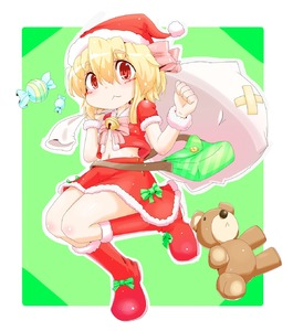 Rating: Safe Score: 0 Tags: 1girl :3 alternate_costume aoihitsuji bag bell blonde_hair boots bow candy green_background hair_ribbon handbag hat highres jingle_bell legs_up looking_at_viewer midriff navel no_wings red_eyes ribbon rumia santa_costume santa_hat short_hair short_sleeves side_ponytail simple_background stuffed_animal stuffed_toy teddy_bear touhou_project User: DMSchmidt
