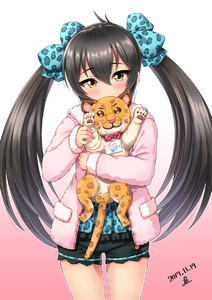Rating: Safe Score: 0 Tags: 10s 1girl animal_print bangs black_hair black_shorts blue_bow blue_shirt blush bow covered_mouth cowboy_shot dated eyebrows_visible_through_hair fingernails gradient gradient_background hair_between_eyes hair_bow hand_up head_tilt highres hood hood_down hoodie idolmaster idolmaster_cinderella_girls leopard_print long_hair long_sleeves looking_at_viewer matoba_risa object_hug pink_background pink_hoodie pocket print_bow print_shirt shirt short_shorts shorts signature simple_background sleeves_past_wrists solo stuffed_animal stuffed_tiger stuffed_toy translation_request tsurime twin_tails very_long_hair waving white_background yellow_eyes yoohi User: Domestic_Importer
