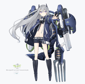 Rating: Safe Score: 0 Tags: 1girl animal_ears bangs belt black_footwear black_shorts blue_coat blush boots character_name closed_mouth coat eyebrows_visible_through_hair fake_animal_ears flat_chest floating_hair fork full_body grey_background grey_hair hair_between_eyes holding holding_weapon long_hair long_sleeves looking_at_viewer mecha_musume mechanical_tail midriff navel open_clothes open_coat original outstretched_arm poco_(asahi_age) purple_eyes short_shorts shorts shovel sidelocks simple_background solo standing tail weapon white_belt User: DMSchmidt