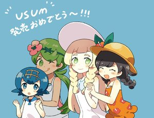 Rating: Safe Score: 0 Tags: 4girls black_hair blonde_hair blue_background blue_eyes blue_hair braid brown_skin closed_eyes dress flower green_eyes green_hair hair_flower hair_ornament hairband hat hat_flower lillie_(pokemon) long_hair mao_(pokemon) mizuki_(pokemon_ultra_sm) multiple_girls npc_trainer one_eye_closed open_mouth orange_shirt overalls pokemon pokemon_(game) pokemon_usum pukiko shirt short_hair simple_background sleeveless sleeveless_dress smile suiren_(pokemon) sun_hat tank_top trial_captain twin_braids white_dress white_hat white_shirt User: Domestic_Importer