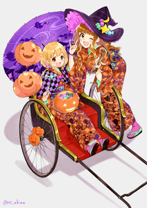 Rating: Safe Score: 0 Tags: 2girls :d ;d \n/ _n_ ahoge balloon bangs black_hat black_headwear blonde_hair blush brown_eyes brown_hair candy checkered checkered_kimono crescent crescent_moon_pin double_\n/ earrings egasumi eyebrows_visible_through_hair food food_themed_hair_ornament full_body futaba_anzu geta grey_background hair_ornament halloween hat hat_ornament holding holding_wand idolmaster idolmaster_cinderella_girls japanese_clothes jewellery kimono leaning_forward long_hair long_sleeves looking_at_viewer low_twintails miyabi_akino moroboshi_kirari multiple_girls nail_polish obi one_eye_closed open_mouth orange_kimono oriental_umbrella pink_legwear pink_nails pumpkin rickshaw sash shiny shiny_hair sidelocks simple_background sitting smile standing star striped striped_hat striped_legwear stud_earrings twin_tails umbrella unmoving_pattern wand wavy_hair witch witch_hat User: Domestic_Importer