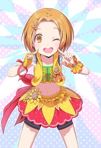 Rating: Safe Score: 2 Tags: 1girl ;d asymmetrical_gloves bad_id bad_pixiv_id black_shorts brown_eyes brown_hair collarbone crop_top finger_to_cheek fingerless_gloves gloves hair_ornament hairclip idolmaster idolmaster_cinderella_girls idolmaster_cinderella_girls_starlight_stage index index_finger_raised leaning_forward looking_at_viewer mashou_boy midriff miniskirt navel one_eye_closed open_mouth red_skirt ryuuzaki_kaoru shiny shiny_skin short_hair short_shorts shorts shorts_under_skirt skirt smile solo spats standing stomach wrist_cuffs yellow_gloves User: Domestic_Importer