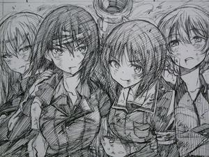 Rating: Safe Score: 0 Tags: 5girls actas arms_around_neck bandages braid bruise cannon darjeeling eyebrows eyebrows_visible_through_hair girls_und_panzer greyscale highres injury itsumi_erika katyusha kojima_takeshi long_hair looking_at_viewer military military_uniform monochrome multiple_girls nishizumi_maho nishizumi_miho serious short_hair sketch twin_braids uniform upper_body User: DMSchmidt