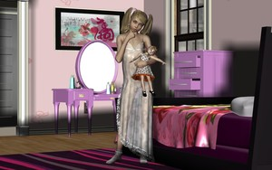 Rating: Explicit Score: 17 Tags: 1girl 3dcg bed bedroom blonde_hair blue_eyes daughter doll finger_to_mouth flat_chest frilled_socks highres lingerie looking_at_viewer mirror nightgown nipples perfume photorealistic pillow ribbon ribbon_hair see-through socks solo transparent_clothes twin_tails uncensored viper User: Software