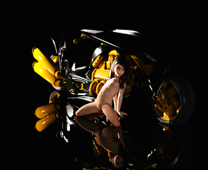 Rating: Questionable Score: 8 Tags: 1girl 3dcg black_hair flat_chest kneeling long_hair looking_at_viewer milana_k motorcycle navel nevin nipples nude photorealistic pose pussy reflection shadowq wariza User: fantasy-lover