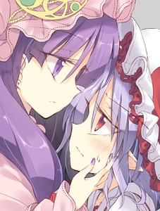 Rating: Safe Score: 0 Tags: 2girls blush close-up comic earrings eyebrows_visible_through_hair flower frilled_sleeves frills hand_on_another's_cheek hand_on_another's_face hat hat_flower hat_ribbon height_difference jewellery lavender_hair long_hair long_sleeves mob_cap multiple_girls nail_polish parted_lips patchouli_knowledge pointy_ears purple_eyes purple_hair purple_nails red_eyes remilia_scarlet ribbon satou_kibi sidelocks sweatdrop touhou_project wavy_mouth yuri User: DMSchmidt