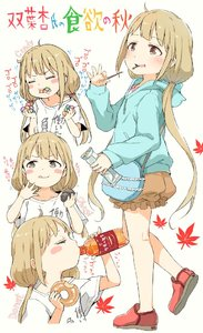 Rating: Safe Score: 0 Tags: 1girl arm_up autumn_leaves bag bangs blue_hoodie blush bottle brown_eyes brown_shorts candy closed_mouth collarbone doughnut drinking drooling english eyebrows_visible_through_hair food futaba_anzu gomennasai holding holding_bottle holding_food hood hood_down hoodie idolmaster idolmaster_cinderella_girls leaf licking_lips light_brown_hair long_hair low_twintails maple_leaf multiple_views ohagi_(food) parted_lips pocky profile puffy_shorts red_footwear saliva shirt shoes short_shorts short_sleeves shorts shoulder_bag simple_background smile standing standing_on_one_leg tongue tongue_out twin_tails very_long_hair white_background white_shirt you_work_you_lose User: Domestic_Importer