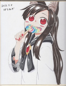 Rating: Safe Score: 0 Tags: 1girl black_hair black_ribbon blush_stickers dated dress eating eyebrows_visible_through_hair gem holding_lollipop imaizumi_kagerou in_mouth long_hair long_sleeves looking_at_viewer nail_polish open_mouth photo poronegi red_eyes red_nails ribbon signature smile solo standing touhou_project traditional_media very_long_hair white_dress User: DMSchmidt