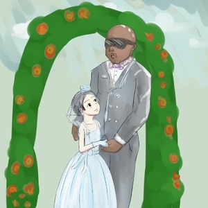 Rating: Safe Score: 4 Tags: 1boy 1girl age_difference artist_request black_eyes black_hair dress flat_chest gloves interracial looking_at_partner looking_up pose standing sunglasses wedding_dress User: bas999