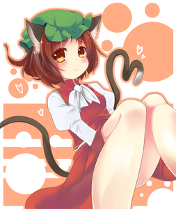 Rating: Safe Score: 1 Tags: 1girl animal_ears blush brown_eyes brown_hair cat_ears cat_tail chen hat looking_at_viewer multiple_tails outline short_hair snowcanvas solo tail touhou_project User: DMSchmidt