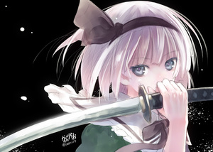 Rating: Safe Score: 1 Tags: 1girl black_background blue_eyes covering_mouth hair_ribbon hibanar konpaku_youmu light_particles looking_at_viewer ribbon signature sketch solo sword team_shanghai_alice touhou_project twitter_username upper_body weapon white_hair User: DMSchmidt