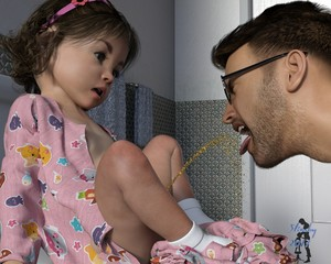 Rating: Explicit Score: 16 Tags: 1boy 1girl 3dcg age_difference bow brown_hair father_and_daughter flat_chest glasses hair_bow looking_at_another open_mouth pajamas pee peeing peeing_in_mouth photorealistic short_hair slimdog socks toddlercon white_legwear User: yobsolo