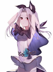 Rating: Safe Score: 1 Tags: 1girl animal_ears arms_up backless_outfit breasts capelet cowboy_shot erune gin00 granblue_fantasy hair_intakes highres jewellery looking_at_viewer medium_hair necklace red_eyes scathacha_(granblue_fantasy) silver_hair simple_background small_breasts solo tagme white_background User: DMSchmidt