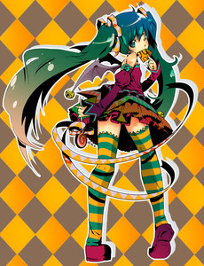 Rating: Safe Score: 4 Tags: 1girl aqua_eyes aqua_hair bare_shoulders bat_wings detached_sleeves hatsune_miku highres legs long_hair one_eye_closed solo striped striped_legwear striped_thighhighs thighhighs twin_tails very_long_hair vocaloid watery_s wings User: DMSchmidt