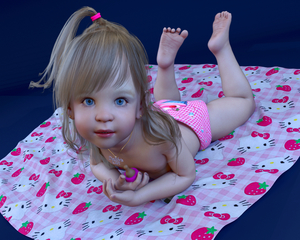 Rating: Questionable Score: 28 Tags: 1girl 3dcg baby_bottle blonde_hair blue_eyes diaper earrings hello_kitty jewellery legs_up long_hair looking_at_viewer lying_on_floor necklace nevin photorealistic plump solo toddlercon User: yobsolo