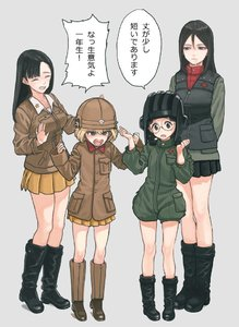 Rating: Safe Score: 0 Tags: 4girls arms_behind_back asymmetrical_bangs bangs black_boots black_hair black_skirt blonde_hair blue_eyes boots braid breasts brown_boots brown_eyes brown_hair brown_jacket closed_eyes comic cosplay costume_switch drooling fukuda_(girls_und_panzer) fukuda_(girls_und_panzer)_(cosplay) girls_und_panzer glasses green_background gufu6 hair_between_eyes hands_up hat helmet jacket katyusha katyusha_(cosplay) long_hair medium_breasts military military_hat military_uniform multiple_girls new_year nishi_kinuyo nonna open_mouth pleated_skirt red_shirt shirt short_hair shorts skirt sleeves_past_wrists star tears twin_braids uniform vest User: Domestic_Importer
