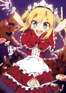 Rating: Safe Score: 0 Tags: 1girl :d absurdres amaryllis_class apron arms_up bangs black_hairband blonde_hair blue_eyes blush bow candy candy_cane candy_wrapper capelet center_frills dress dutch_angle eyebrows_visible_through_hair fang fingerless_gloves food frilled_apron frills gloves grey_gloves hair_between_eyes hairband highres kotohara_hinari lollipop long_hair looking_at_viewer open_mouth red_bow red_capelet red_dress sidelocks smile solo swirl_lollipop tama_(tama-s) transparent twin_tails virtual_youtuber waist_apron white_apron User: DMSchmidt