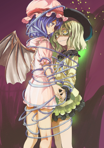 Rating: Safe Score: 0 Tags: 2girls bat_wings blue_hair dress green_hair grin hat interlocked_fingers komeiji_koishi multiple_girls pink_dress red_eyes remilia_scarlet skirt smile tied_up touhou_project wings yellow_eyes yohane User: DMSchmidt
