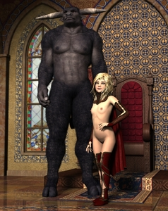 Rating: Questionable Score: 7 Tags: 1girl 3d_custom_girl arm_gloves badonion beast blonde_hair chair elf flat_chest highres horns lace-trimmed_thighhighs legwear looking_at_viewer medium_hair nipples nude photorealistic pointy_ears stained_glass_window User: Software