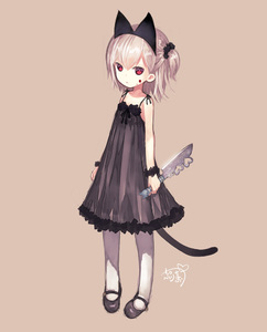 Rating: Safe Score: 3 Tags: 1girl :< animal_ears bare_shoulders black_dress blood blood_on_face cat_ears cat_tail dress hibanar kaburi_chiko knife long_sleeves looking_at_viewer original pantyhose red_eyes short_hair side_ponytail silver_hair simple_background solo tail white_legwear User: DMSchmidt