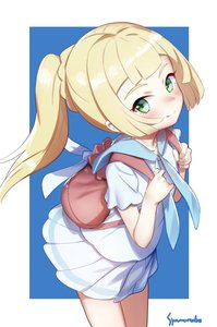 Rating: Safe Score: 5 Tags: 1girl artist_name backpack bag bangs blonde_hair blue_neckwear blue_sailor_collar blue_skirt blunt_bangs blush braid closed_mouth dutch_angle from_above green_eyes highres leaning_forward lillie_(pokemon) long_hair looking_at_viewer medium_hair neckerchief pleated_skirt pokemon pokemon_(game) pokemon_sm ponytail sailor_collar school_uniform serafuku shamonabe shirt sidelocks signature simple_background skirt smile solo white_shirt white_skirt User: DMSchmidt