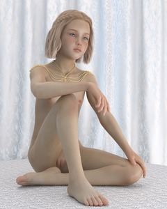 Rating: Questionable Score: 16 Tags: 1girl 3dcg 3ddased barefoot blonde_hair blue_eyes flat_chest necklace nipples photorealistic pose pussy sitting User: fantasy-lover