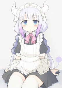 Rating: Safe Score: 3 Tags: 1girl :o alternate_costume apron bad_source bangs beads blue_eyes blunt_bangs blush cropped_legs dragon_girl dragon_horns dragon_tail enmaided eyebrows_visible_through_hair grey_background hair_beads hair_ornament half-closed_eyes headdress horns kanna_kamui kobayashi-san_chi_no_maidragon lavender_hair long_hair low_twintails maid maid_apron maid_headdress mobu neck neck_ribbon open_mouth pink_ribbon ribbon short_sleeves simple_background sitting solo tail thighhighs thighs twin_tails white_legwear zettai_ryouiki User: DMSchmidt
